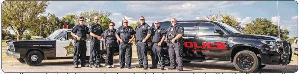 Olney PD pose with the Mayberry Police car
