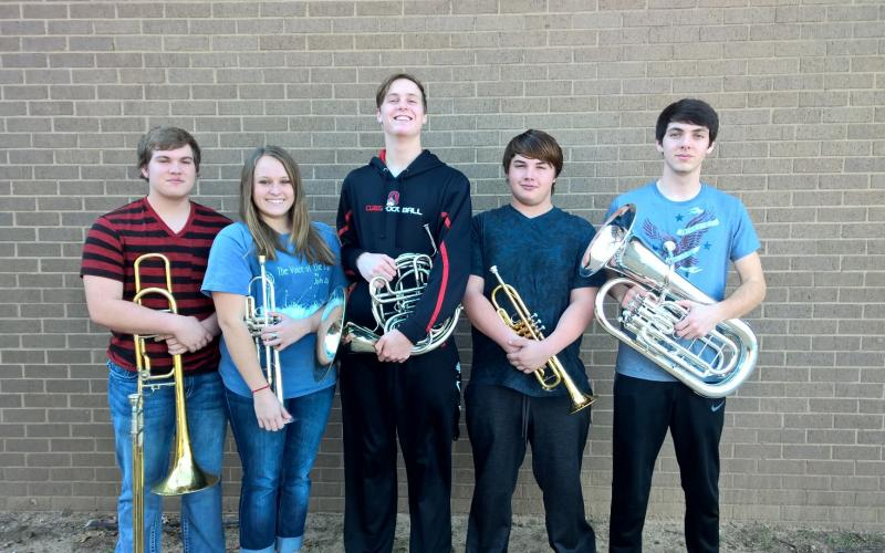 Shown here are Michael Liming, Hayley Ondricek, Brent McCorkle, Tristen Belyeu and Eric Cuba, whose quintet advanced to the UIL State Ensemble and Solo Contest.