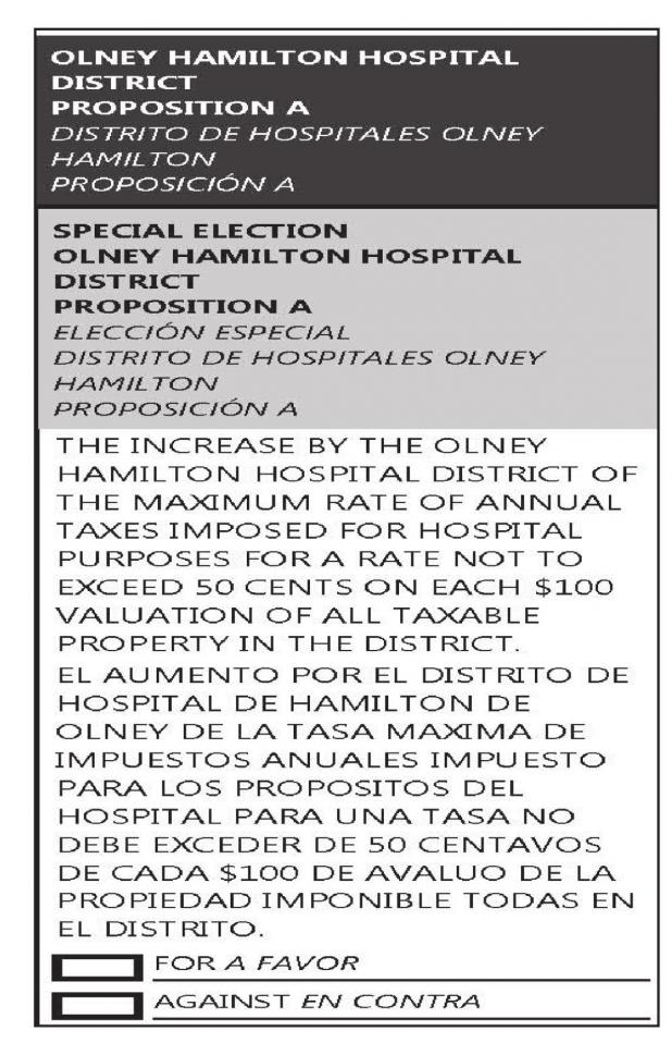 Sample Ballot of Olney Hamilton Hospital District Prop A