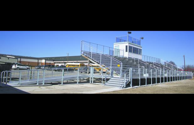 Shown here is the recently competed $25,000 addition to the Newcastle High School football stands.